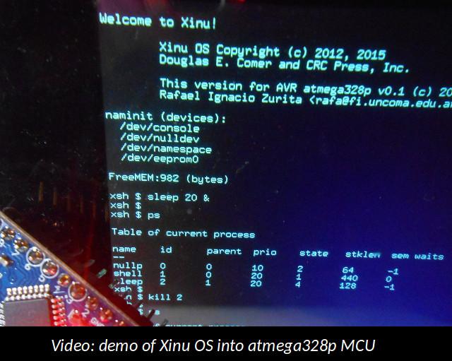 Demo video: Xinu OS into atmega328p MCU